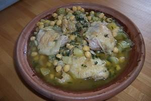 tajine poulet pois chiches et oignons