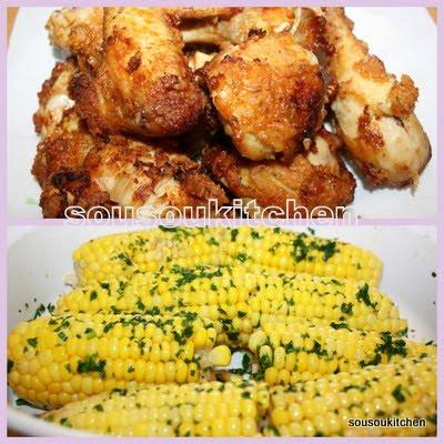 poulet frit et maïs