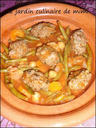 Tajine de viande hachée et légumes
