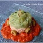 Parmentier de saumon et courgette sur son lit de poivron rouge