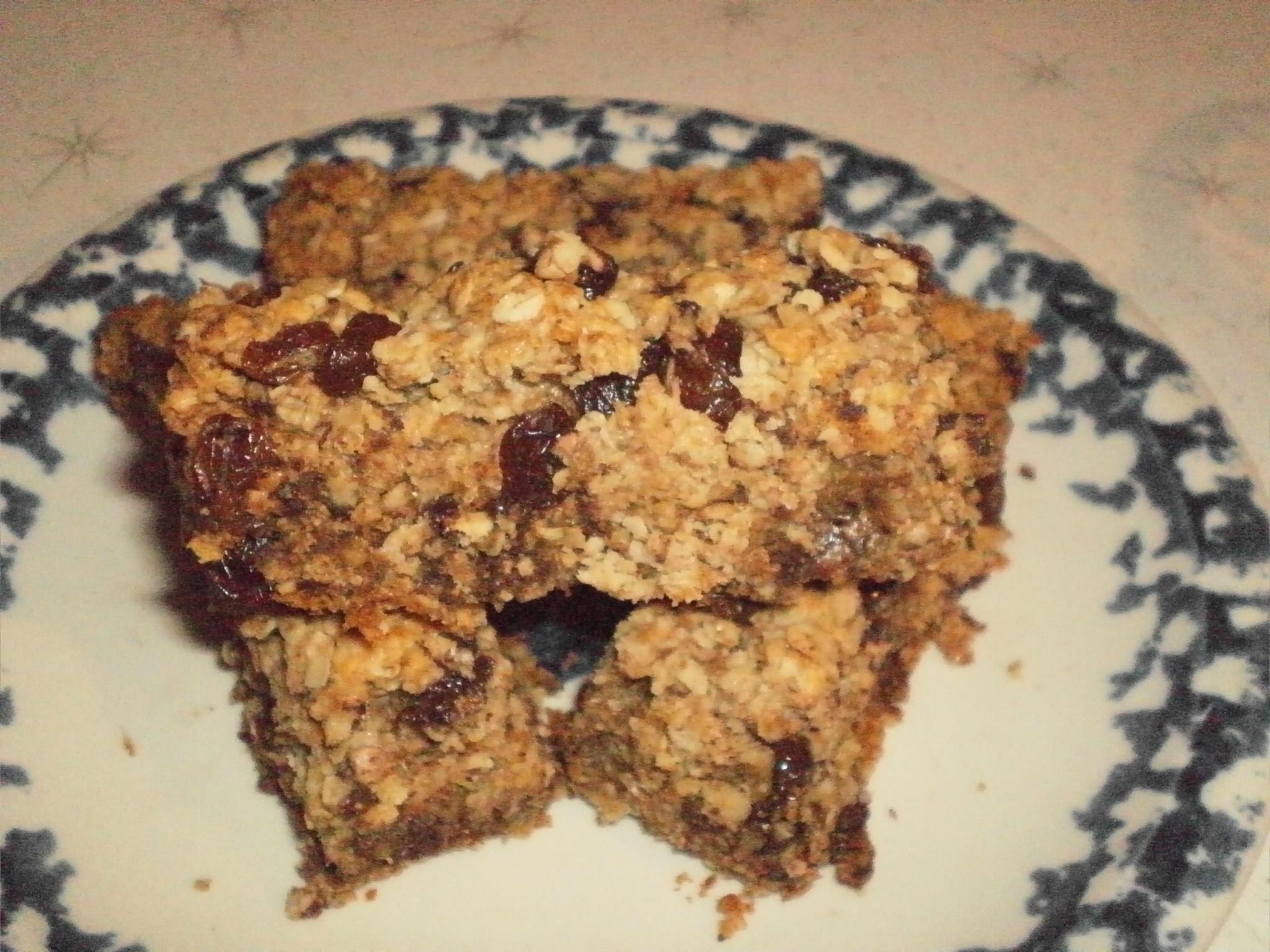 Barres tendres aux raisins secs et pépites de chocolat