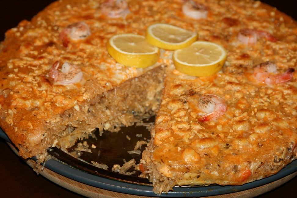 Pastilla aux fruits de mer et saumon