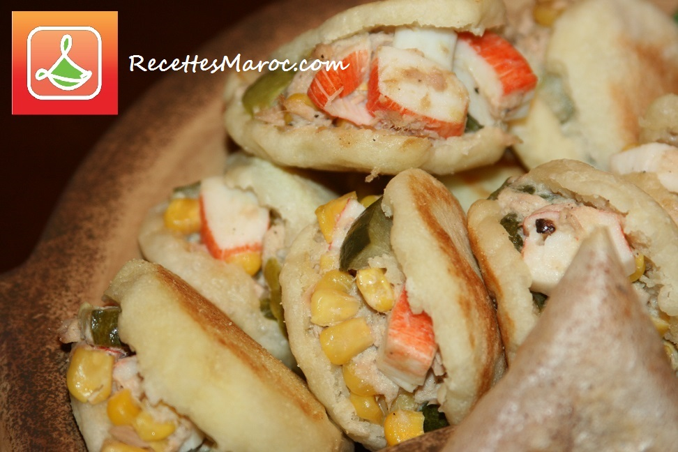 Mini Batbout au Crabe & Maïs